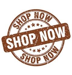 Shop now brown grunge round vintage rubber stamp vector