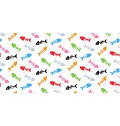 Skeletons of fishes colourful fish bones pattern vector