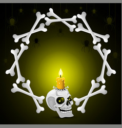 skull with candle and bones vector image