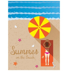 Summer Woman with Bikini Sunbathe on the Beach vector image