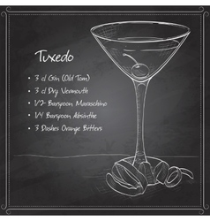 Tuxedo cocktail on black board vector