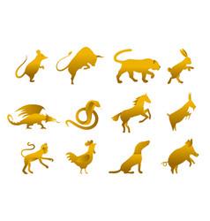 Twelve golden chinese year lunar zodiac horoscope vector