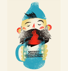 typographic grunge vintage christmas card design vector image