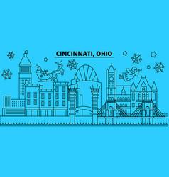 united states cincinnati winter holidays skyline vector image