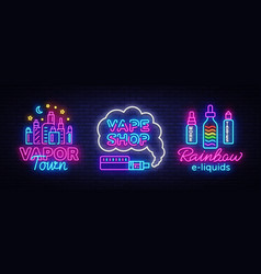 vape shop neon sign collection vaping vector image