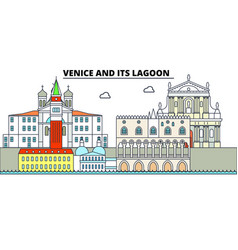 venice and its lagoon line travel landmar vector image