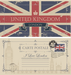 Vintage postcard with the big ben and uk flag vector