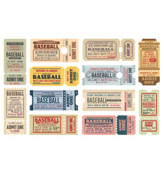 Vintage tickets on baseball game templates vector