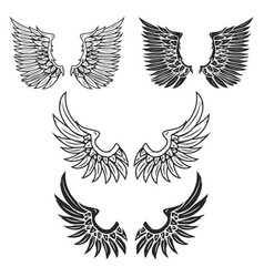 vintage wings isolated on white background vector image