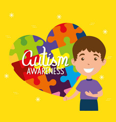world autism day and boy with puzzle pieces vector image
