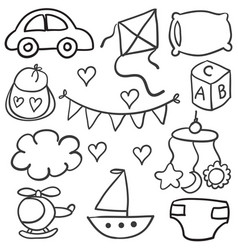 Collection of baby theme object doodles vector