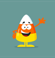 cute candy corn flat design waving vector image vector image