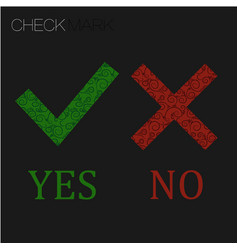 Icon yes and no green check mark and red wrong vector