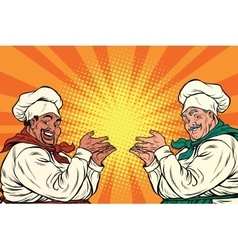 multi-ethnic chefs in the pose of a promoter vector image