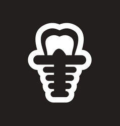 Stylish black and white icons tooth implant vector