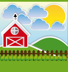 color landscape of farm and cute field vector image