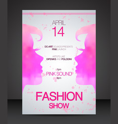 Fashion show flyer face to face pink women vector image