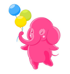 Funny pink elephant gives the three balloons vector