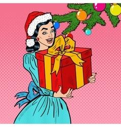 Pop Art Happy Woman Holding Christmas Gift Box vector image vector image