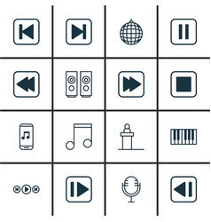 set of 16 audio icons includes skip song rewind vector image