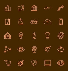 Startup business orange line icons vector image