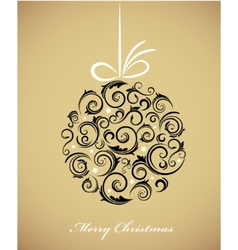 vintage christmas ball with retro ornaments vector image