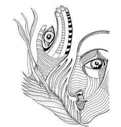 Abstract surreal face and hand with mehndi tattoo vector image vector image