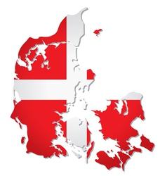 Denmark flag map vector image