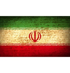 Flags Iran with dirty paper texture vector image vector image