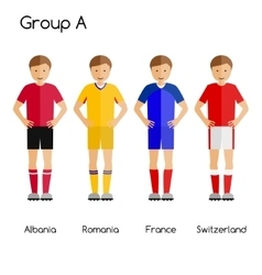 Football team players group a - albania romania vector