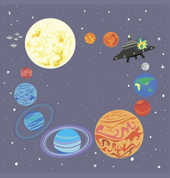 frame planet solar system in a circle and a cut vector image