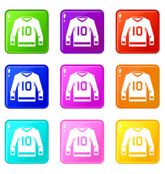 Hockey jersey icons 9 set vector