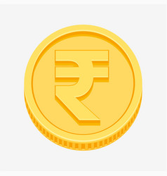 indian rupees symbol on gold coin vector image vector image