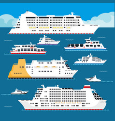 sea cruise liner flat vacation passenger vector image vector image