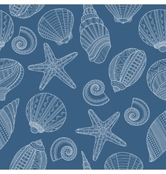 Seamless pattern with linear sea shells on blue vector image