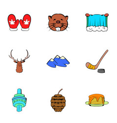 canadian maple icons set cartoon style vector image vector image