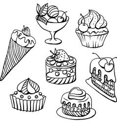 Cupcakes Icecream Sketch vector image vector image