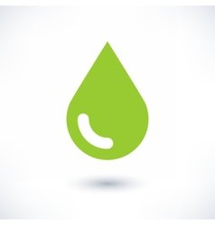 Green color drop icon with gray shadow on white vector image