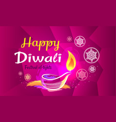 happy diwali poster with purple pattern backdrop vector image