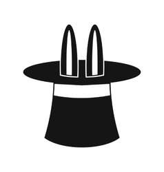 Rabbit ears appearing from a top magic hat icon vector image vector image