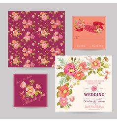Set of Wedding Floral Invitation Cards vector image