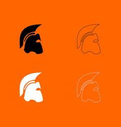 spartan helmet black and white set icon vector image