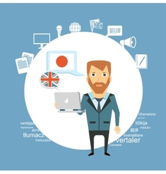 translator working with a laptop vector image