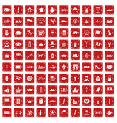 100 europe countries icons set grunge red vector image