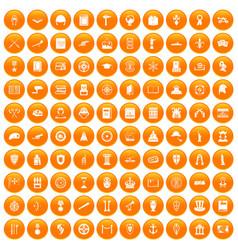 100 history icons set orange vector