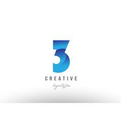 3 three blue gradient number numeral digit logo vector