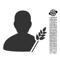Agriculture farmer icon with men bonus vector