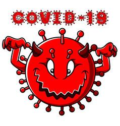 Angry devil corona virus character vector