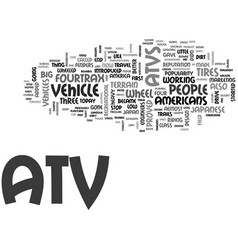 Atv history text word cloud concept vector