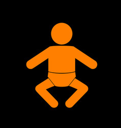 baby sign orange icon on black vector image